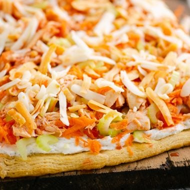 Buffalo Chicken Vegetable Pizza on cutting board