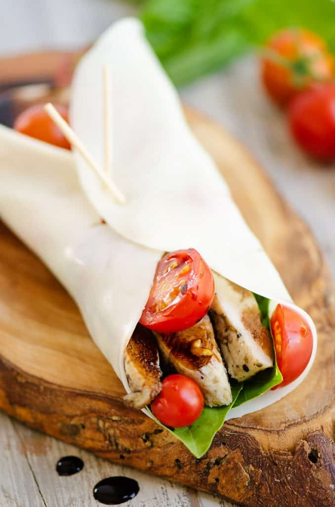 balsamic chicken, tomatoes and basil wrapped in mozzarella cheese wrap