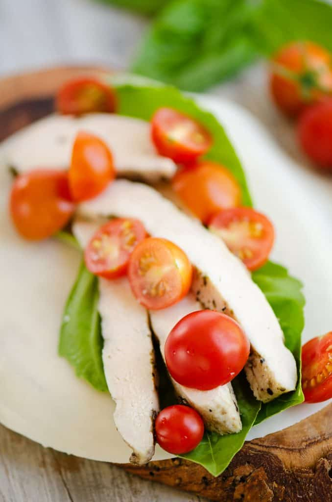 roasted chicken, tomatoes and basil layered on mozzarella cheese wrap
