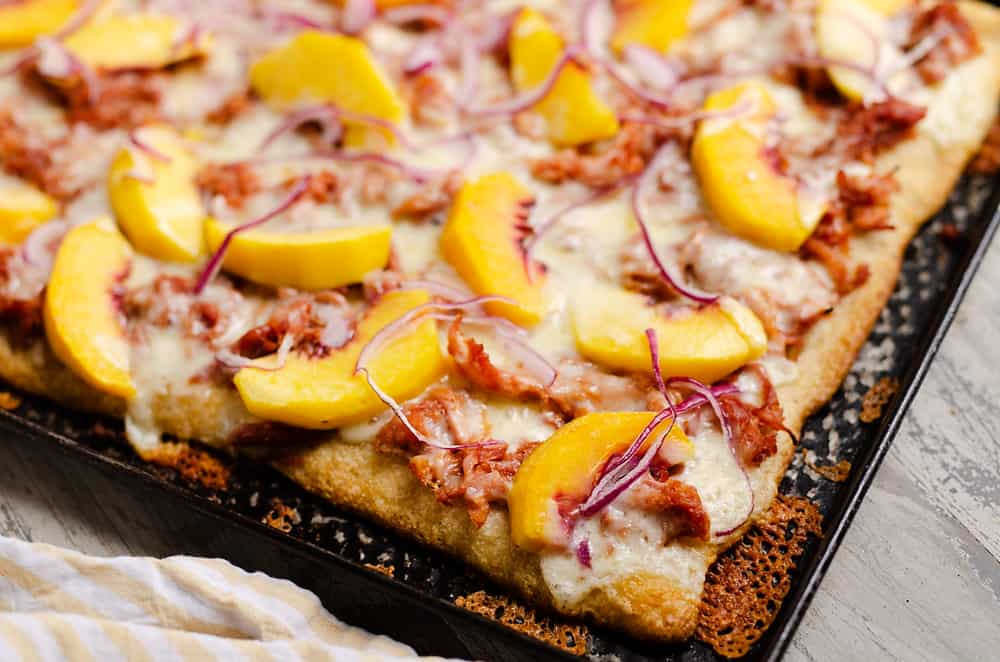 BBQ Peach Pizza on sheet pan