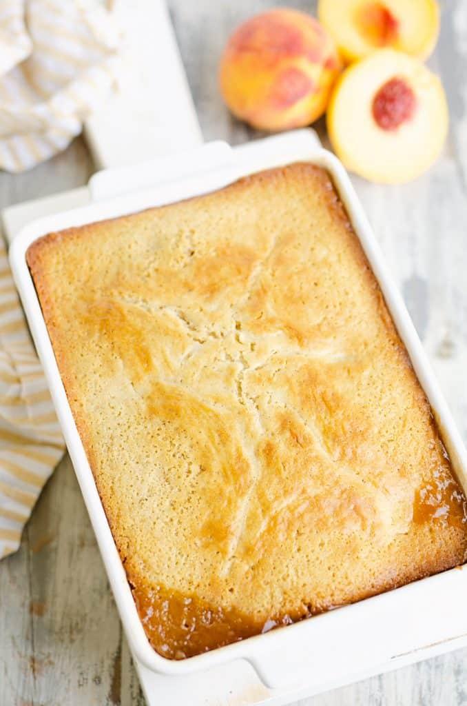 homemade cake in white pan