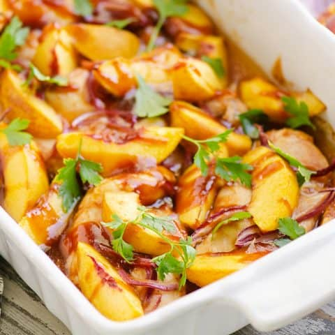 Roasted Peach BBQ Chicken Bake