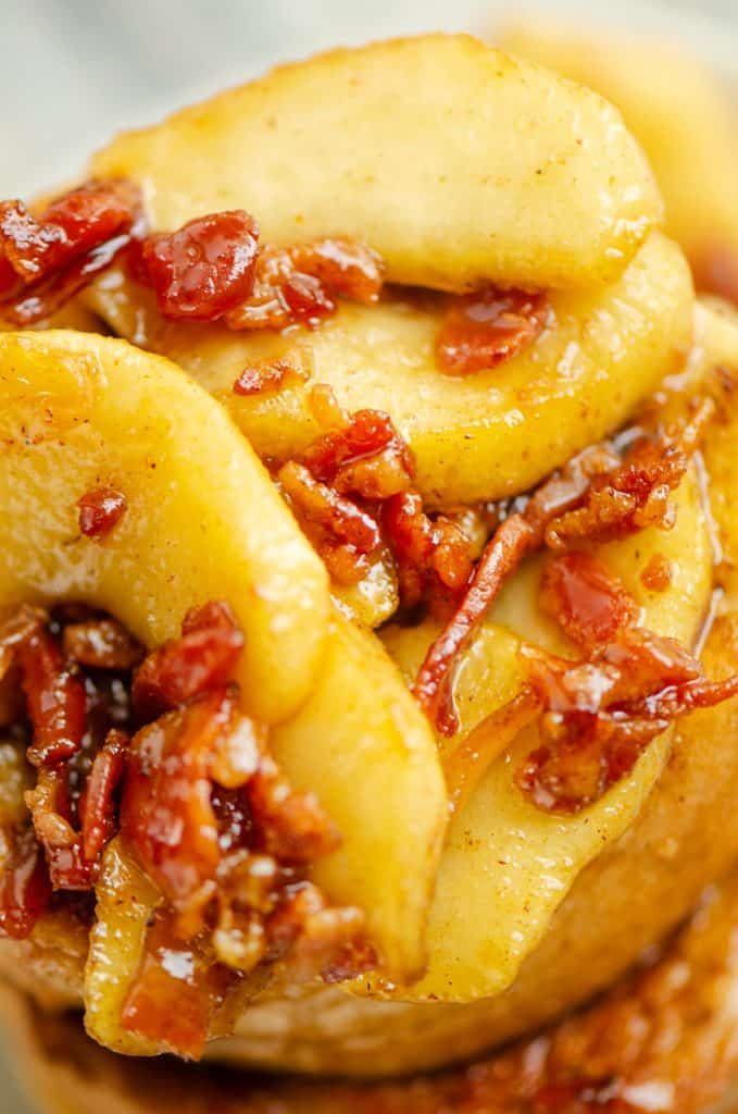 Caramelized Bacon & Apples on French toast