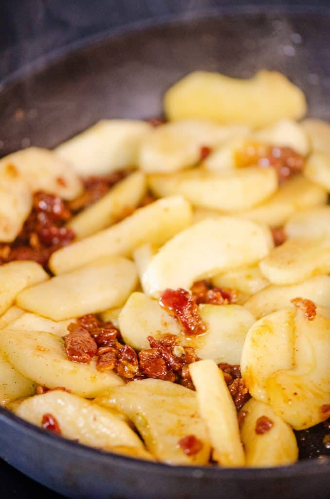 Caramelized Bacon & Apples in skillet