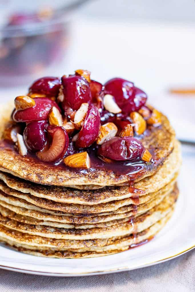 Cinnamon Cherry Almond Topping on Oatmeal Pancakes