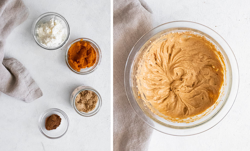 pumpkin cream cheese mousse in clear bowl with ingredients