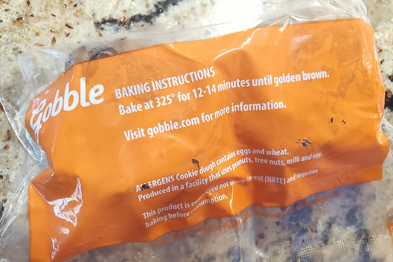 Gobble chocolate chip cookie dough pucks in package