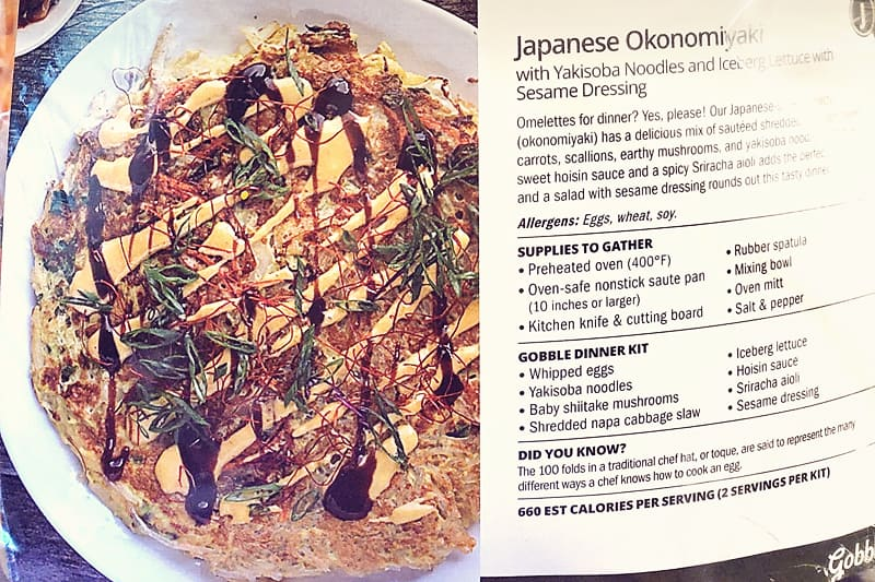 Gobble Japanese Okonomiyaki Yakisoba Noodle Omlette instruction card