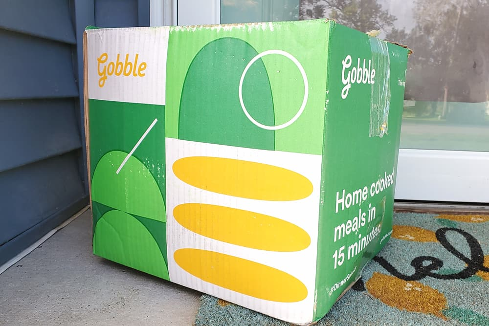 Gobble Meal Delivery Service Kit box on front step