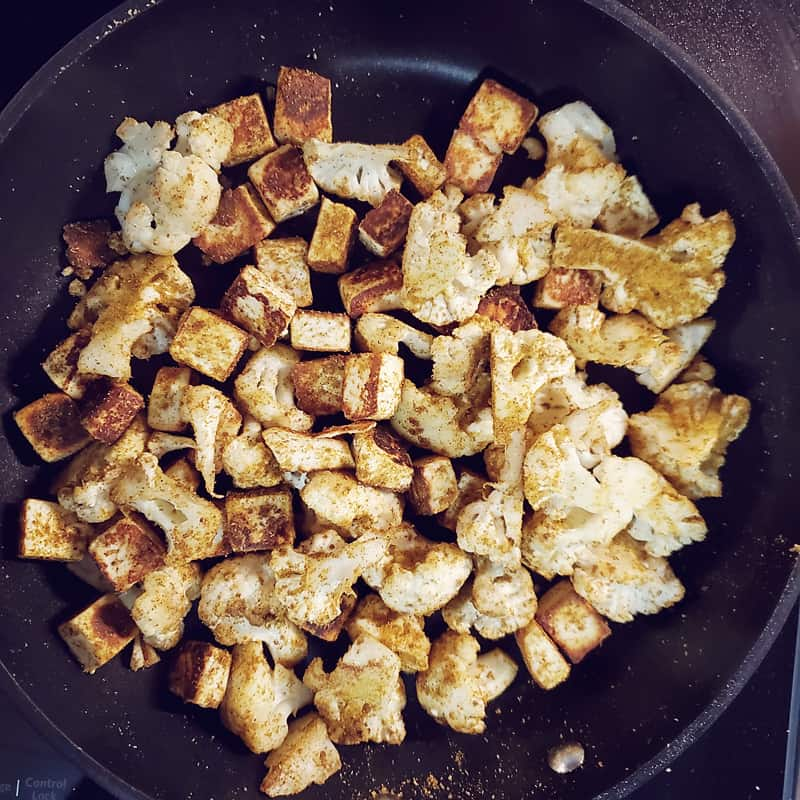 Paneer and Cauliflower in skillet