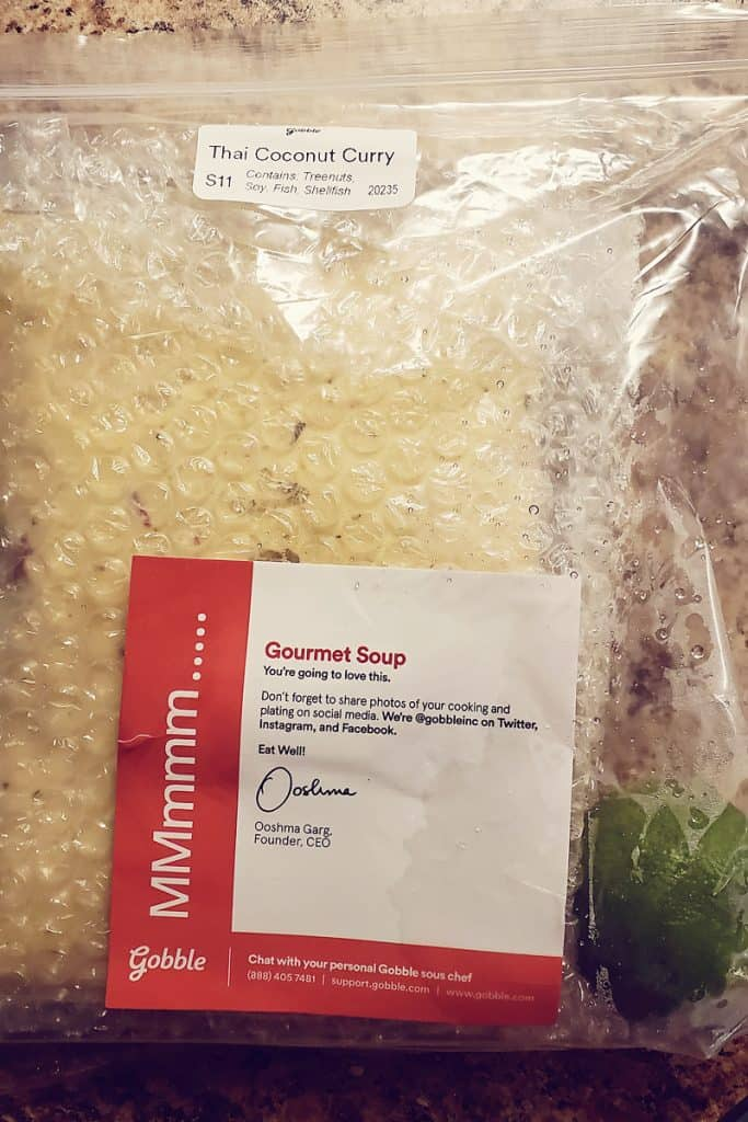 Gobble Thai Coconut Curry Soup in package with lime