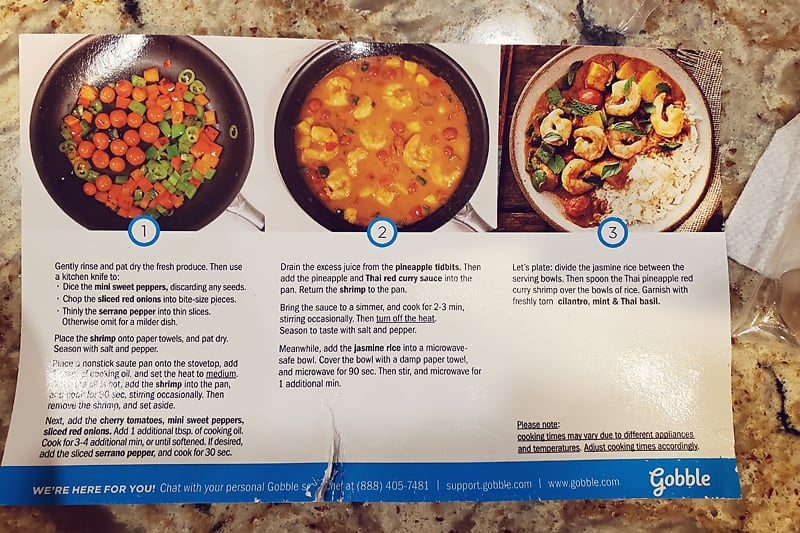 Gobble Thai Red Curry Shrimp instructions card