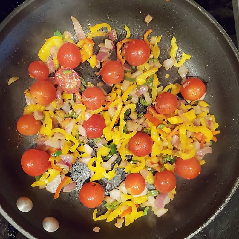 Tomatoes and Peppers in skillet