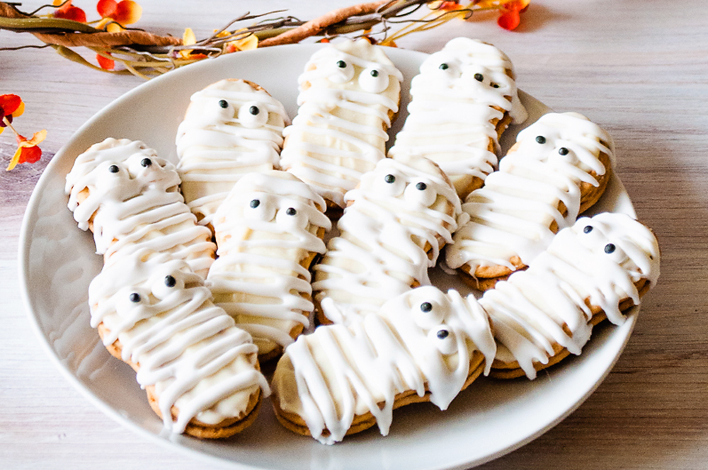 Mummy Nutter Butter Cookies on white plate