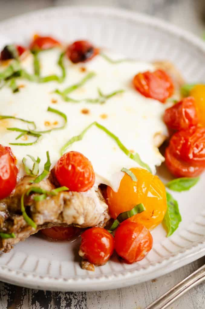 Honey Balsamic Caprese Chicken on plate