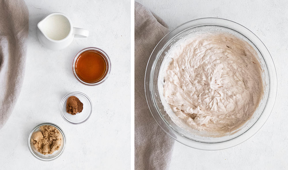 Maple brown sugar whipped cream in clear bowl with ingredients