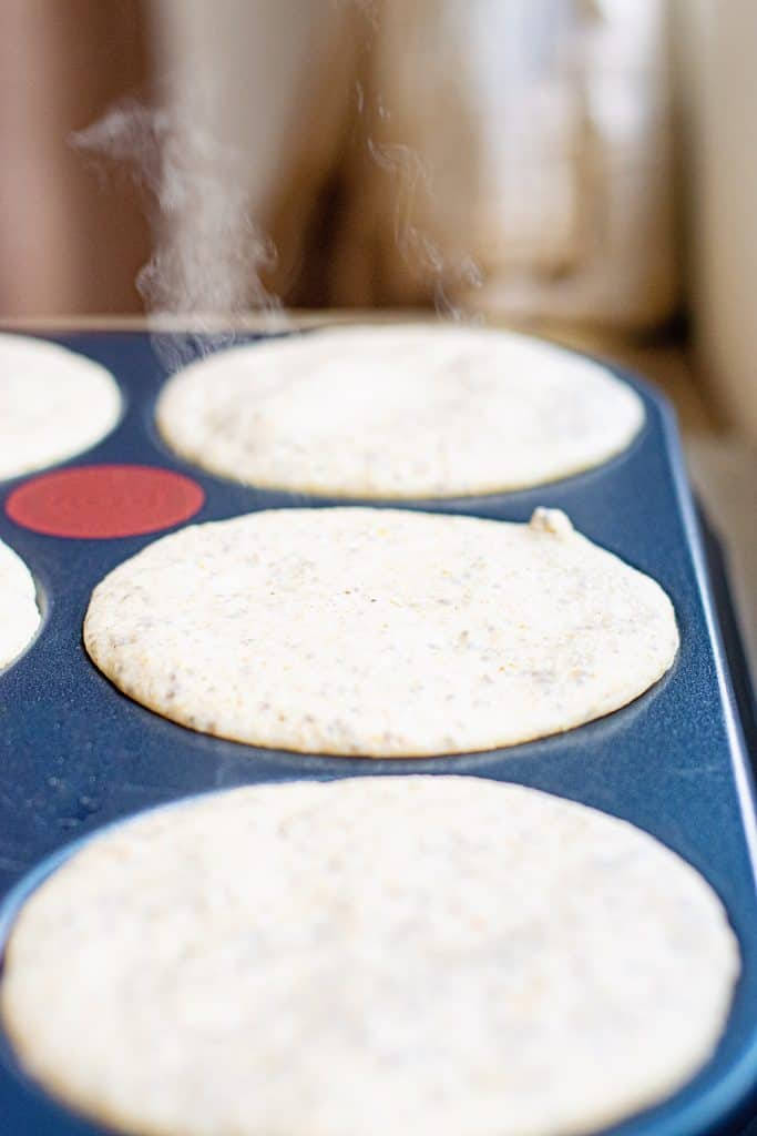 Oatmeal Pancakes on griddle cooking