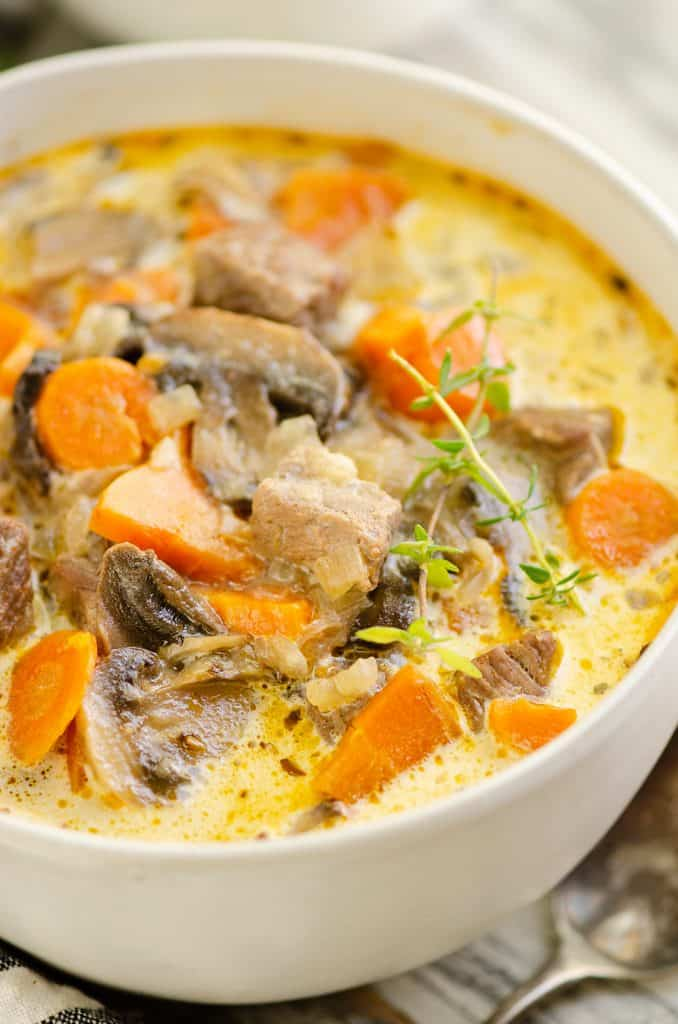 Creamy Mushroom Beef Soup in white bowl