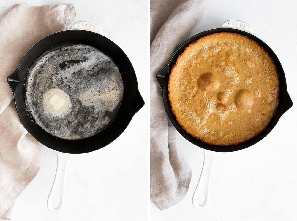 cast iron skillet with butter and Pumpkin Spicy Dutch Baby