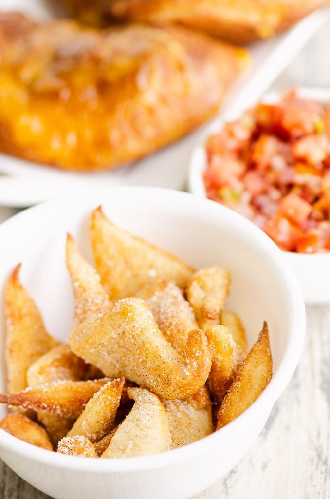Air Fryer cinnamon sugar bites with calzone and salsa