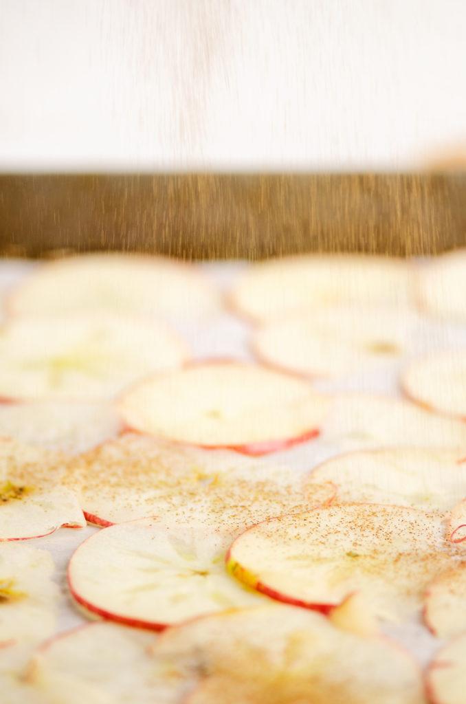 apple slices sprinkled with cinnamon