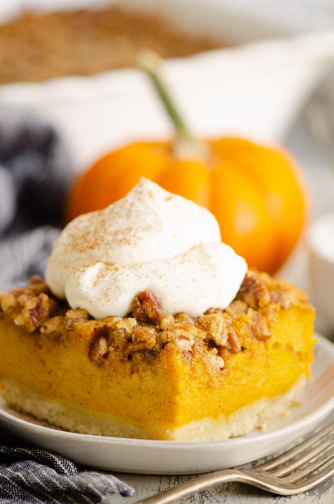Pumpkin Pecan Custard Pie Bars with orange pumpkin