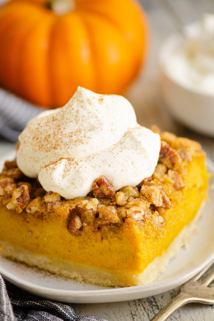 Pumpkin Pecan Custard Pie Bars topped with cinnamon whipped cream