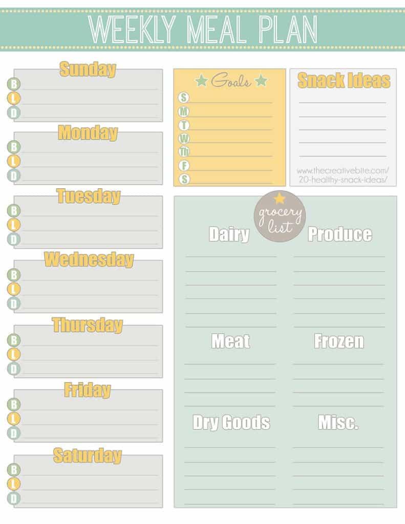 Free Printable Weekly Meal Planner + Calendar For Weekly Meal Planner Template Word