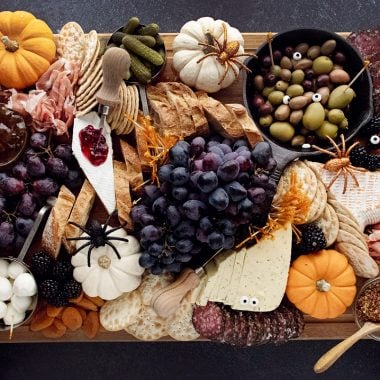 Halloween Charcuterie Board on dark table