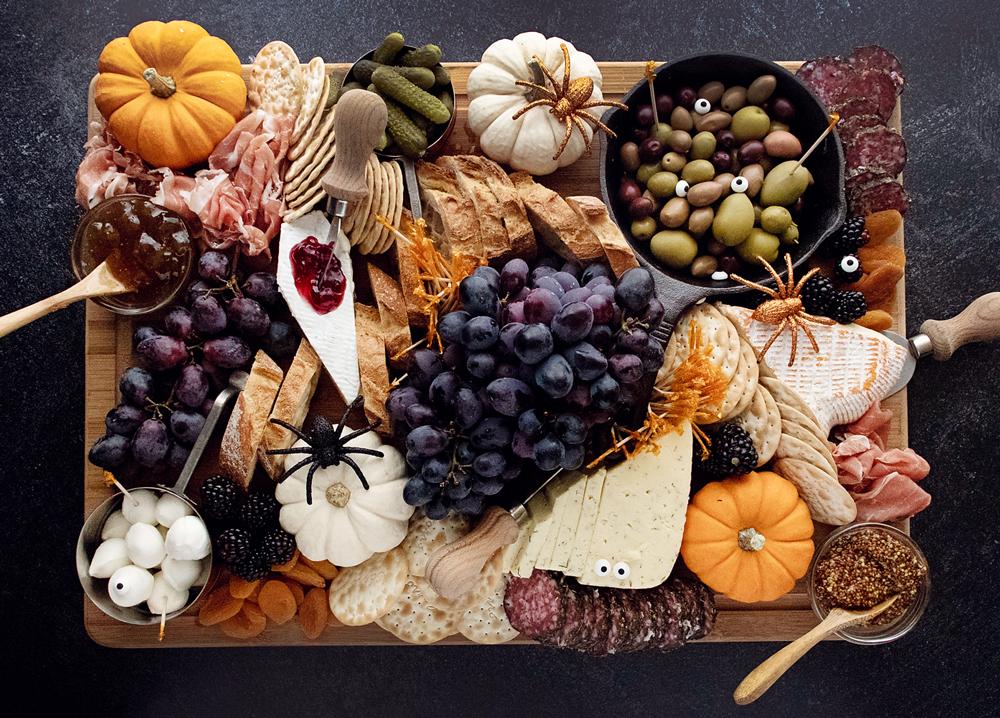 Halloween Charcuterie Board on dark table
