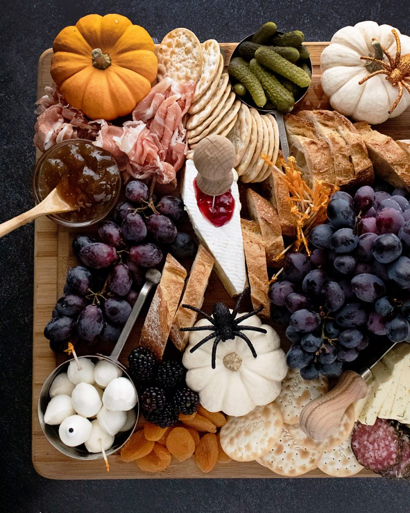 Halloween Charcuterie Board with bloody coffin cheese