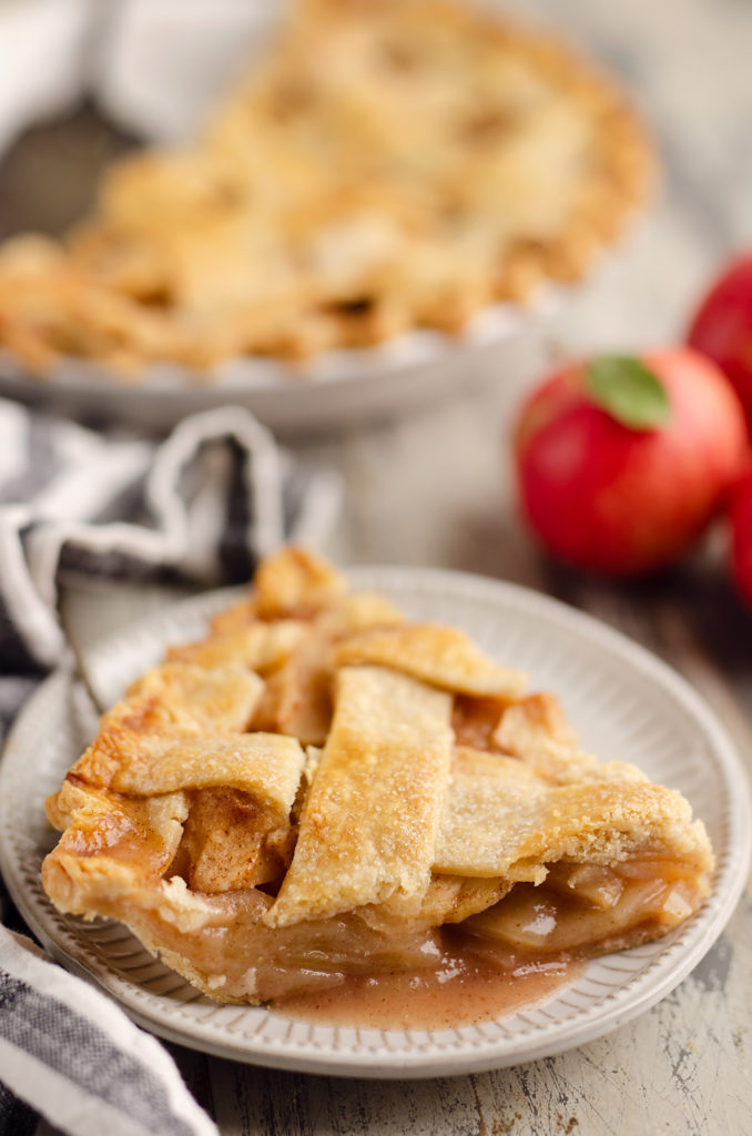 Old Fashioned Apple Pie slice on white plate