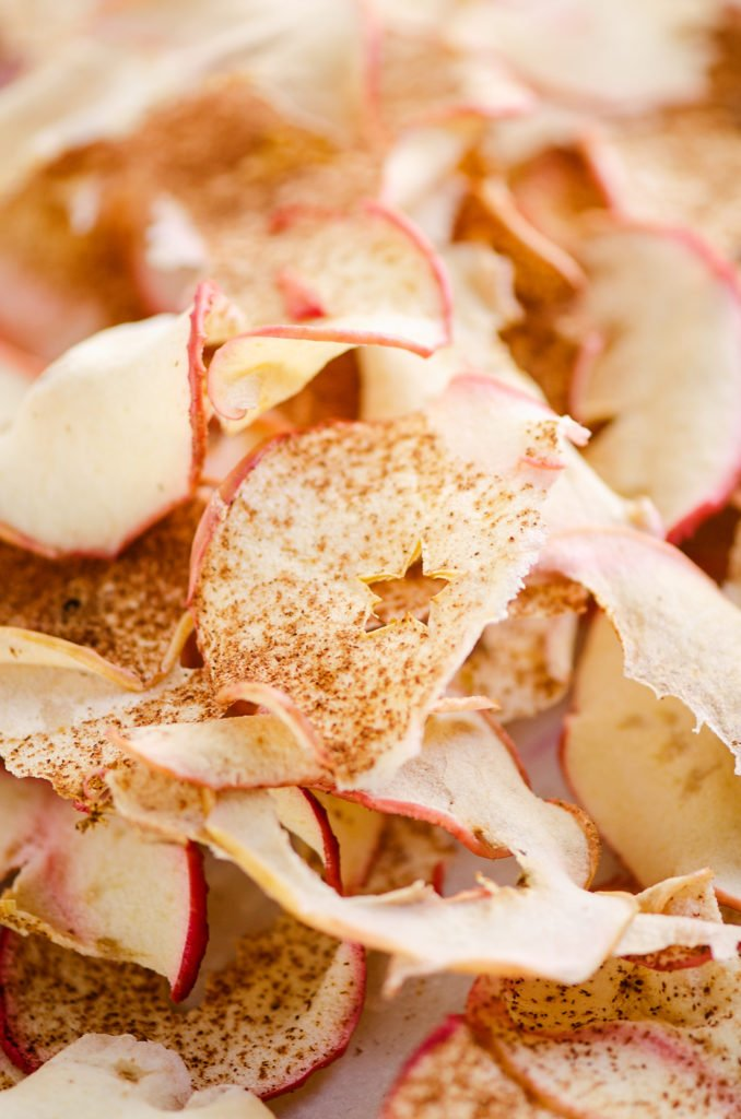 baked apple chips on sheet pan