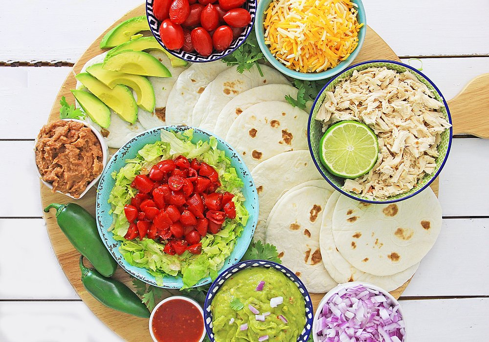Pressure Cooker Chili Lime Chicken Taco toppings and ingredients