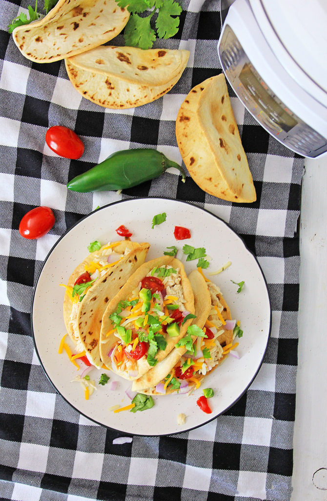 Pressure Cooker Chili Lime Chicken Tacos on table with checkered tablecloth