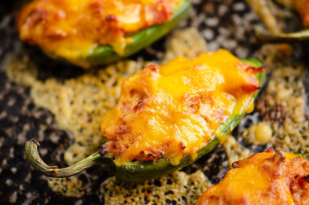 Cheesy BBQ Pork Jalapeno Poppers on sheet pan baked with cheese