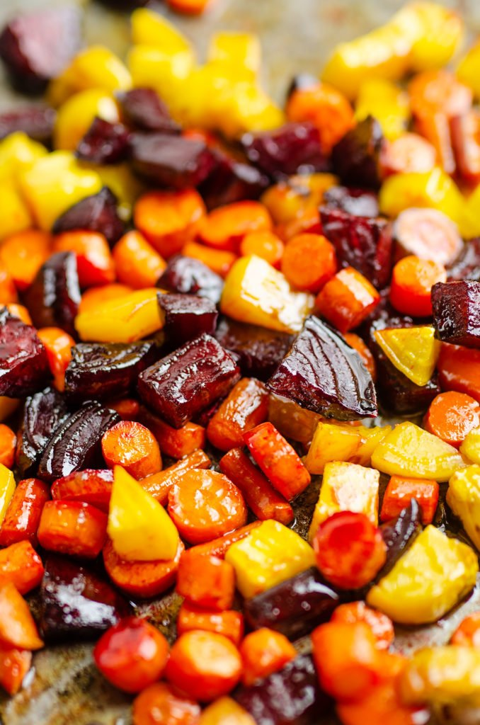 Honey Roasted Beets & Carrots on sheet pan