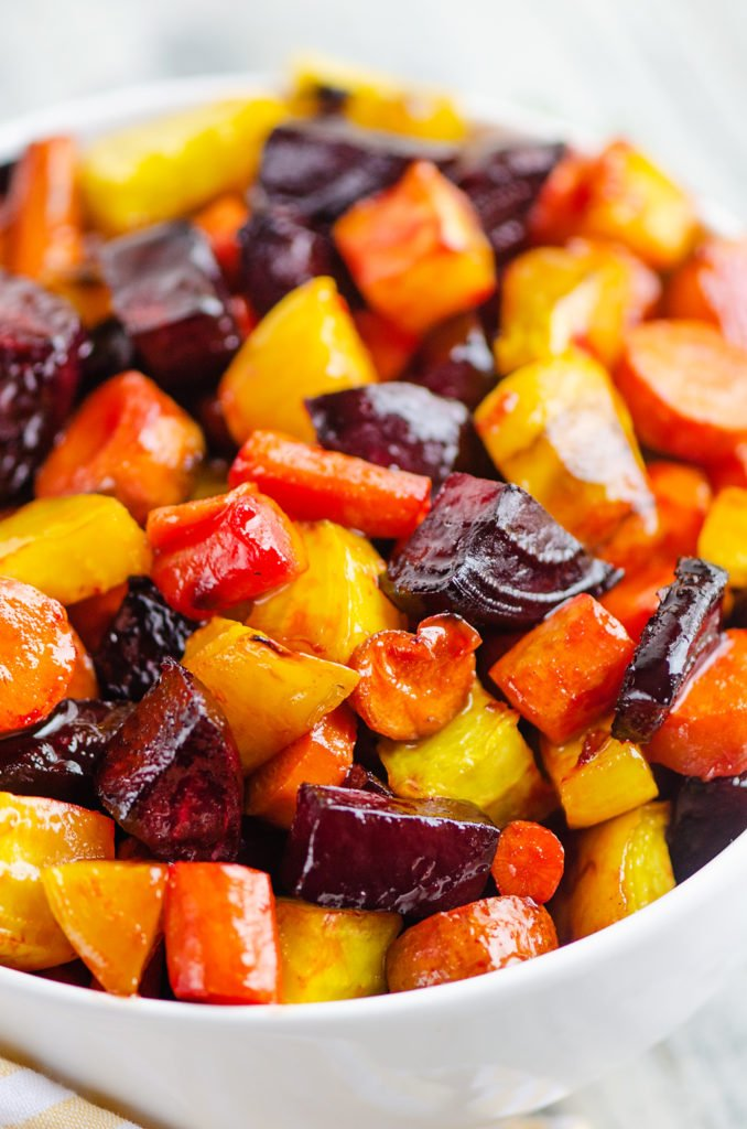 Honey Roasted Beets & Carrots in white bowl