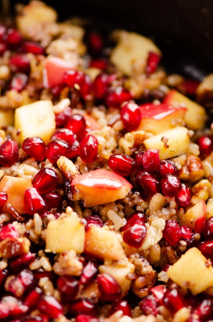 Apples, Pomegranates & Grains in skillet