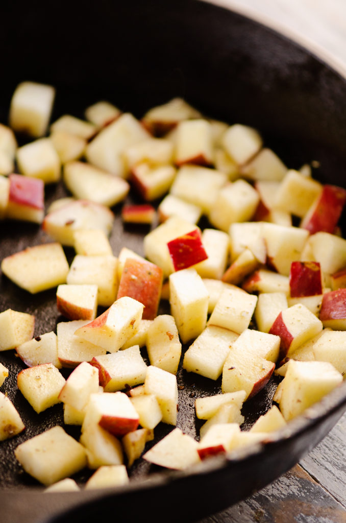 sauteed apples in cast iron skillet