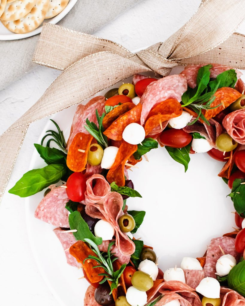 Christmas antipasto wreath with burlap ribbon