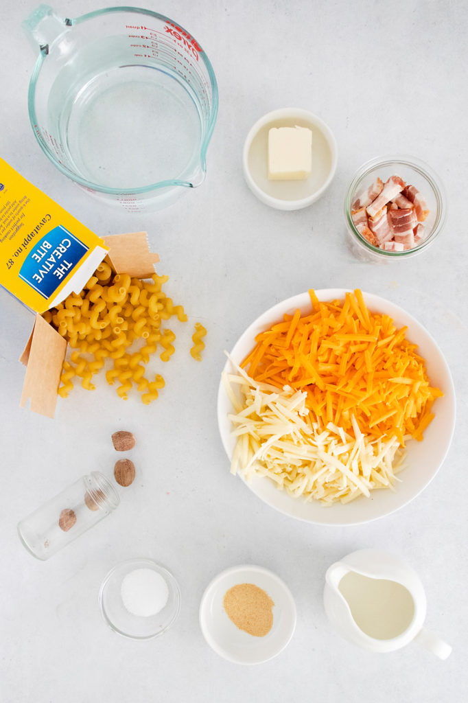 Pressure Cooker Bacon Mac and Cheese ingredients on table