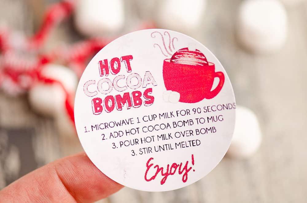 hot cocoa bomb instruction sticker
