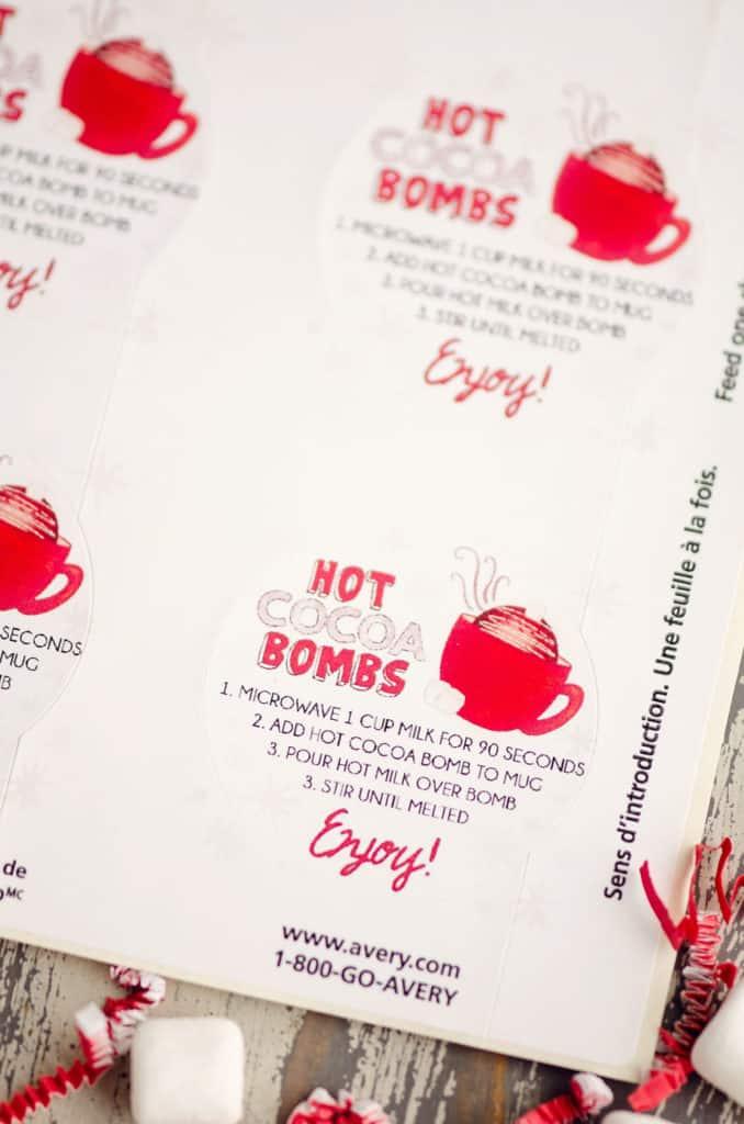 hot cocoa bomb instruction sticker sheet