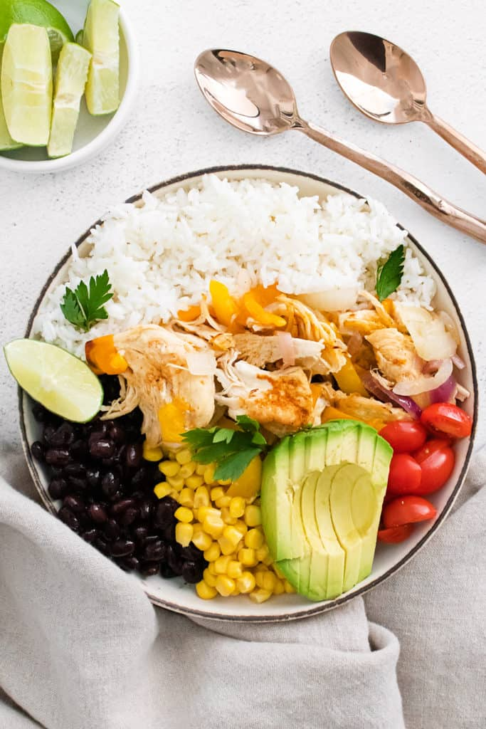 Instant pot chicken fajitas with bowl of lime wedges