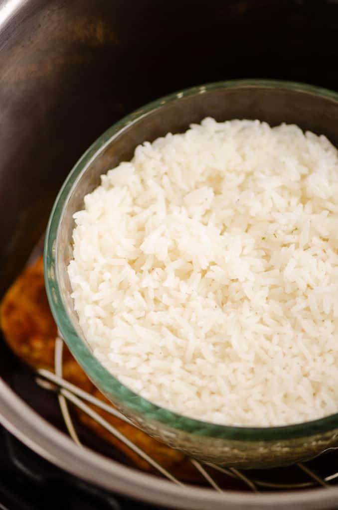 pot in pot PIP rice in glass bowl