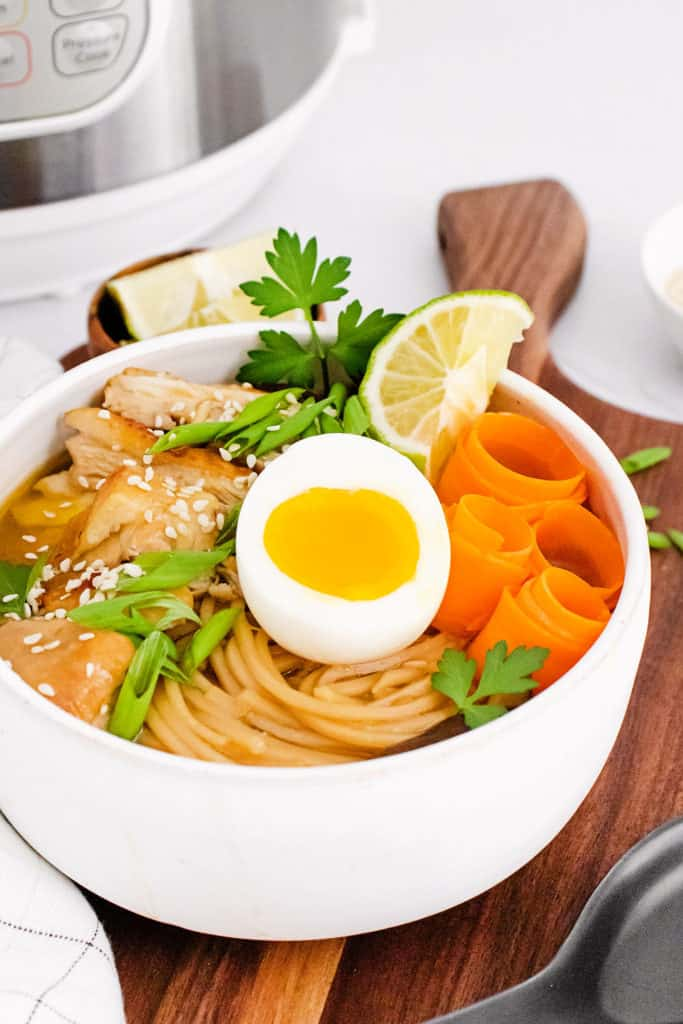 Chicken Ramen with Sweet Chili Oil in bowl with soft boiled egg