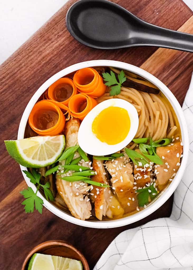 Chicken Ramen with Sweet Chili Oil in white bowl