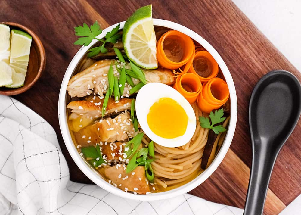 Pressure Cooker Chicken Ramen with Sweet Chili Oil in white bowl