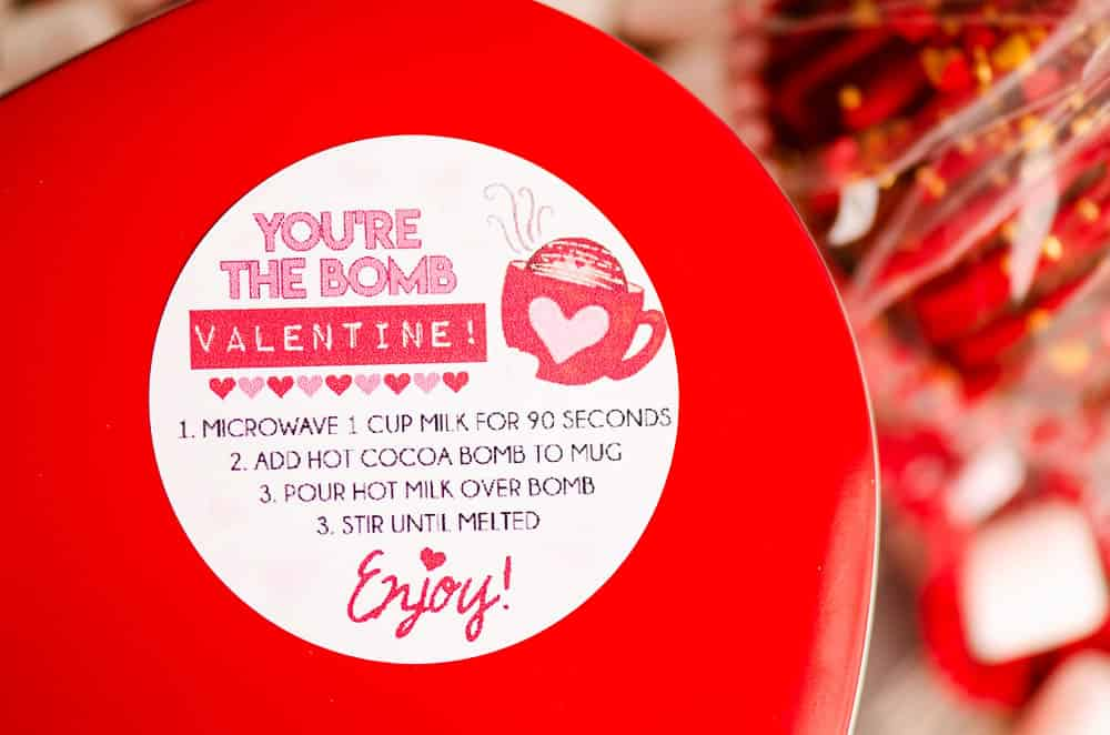 valentine hot cocoa bomb sticker on red tin
